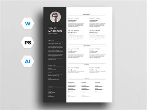 free minimal resume template for word illustrator and