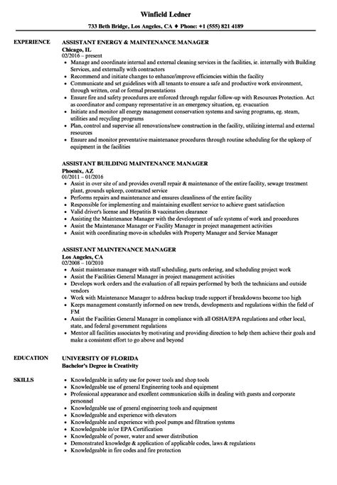 Maintenance Manager Resume by Maintenance Manager Resumes Sles Dadaji Us