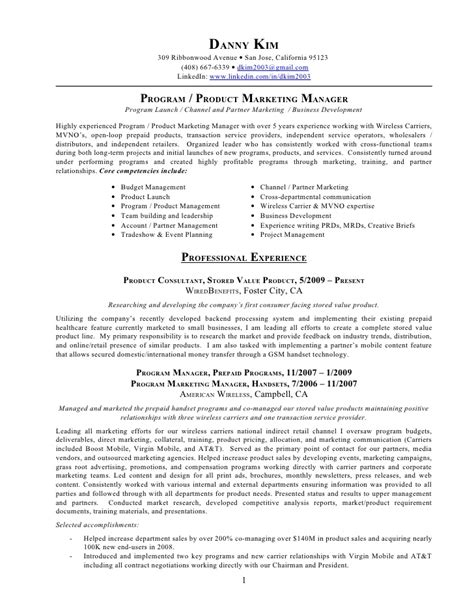 Marketing Manager Resume by Resume Program Product Marketing Manager Retail Marketing