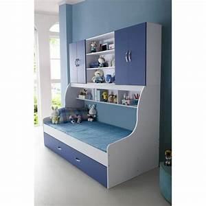 Lit Maison Enfant : lit enfant bleu 90x200 avec tiroir et rangement mural ~ Farleysfitness.com Idées de Décoration