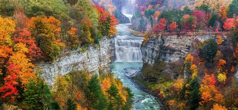 High Resolution Fall Foliage Pictures Letchworth Middle Falls In Fall Photograph By Mark Papke