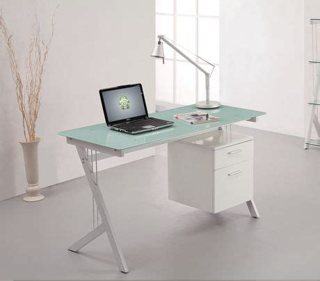 bureau dessus verre bureau avec dessus en verre trempé blanc walmart canada