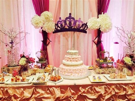 sweet sixteen dessert table princess quinceañera party ideas dessert table