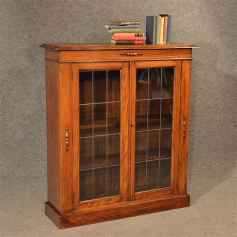 Display Bookcase by Antique Oak Bookcase Display Glazed Library