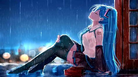 anime hatsune miku rain animated wallpaper animated