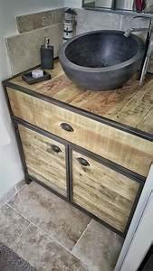 Meuble Sous Vasque Industriel : cr ation de meuble sous vasque en acier et bois sur mesure ~ Teatrodelosmanantiales.com Idées de Décoration