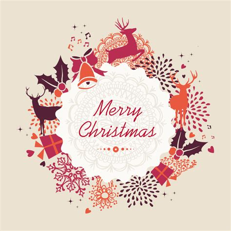 merry christmas holiday vintage elements vector free vector graphic download