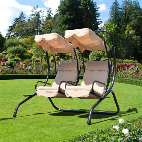 2 Seater Hammock Swing by Outsunny Outdoor Garden Patio Covered Swing W