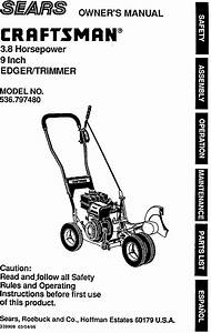 Craftsman 536797480 User Manual 3 8 Hp 9 Edger  Trimmer Manuals And Guides L9050211
