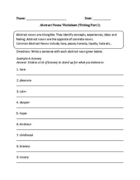 writing abstract nouns worksheet part 1 intermediate