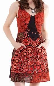 Robe courte d ete noire et rouge a bretelles originale et for Robe d été noire à bretelles