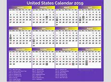 United States National Holiday Calendar 2019