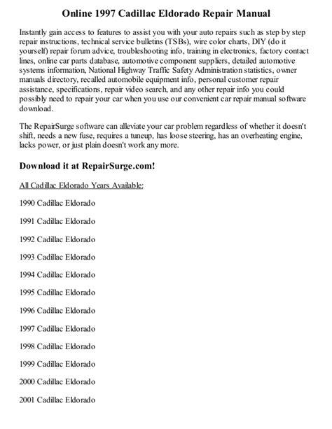 how to download repair manuals 2001 cadillac eldorado on board diagnostic system 1997 cadillac eldorado repair manual online