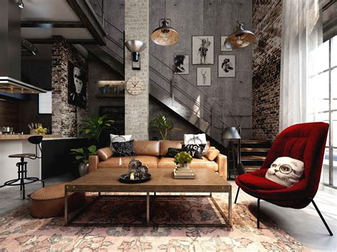 industrial interiors home decor rich industrial style unites jewel colours with exposed brick walls