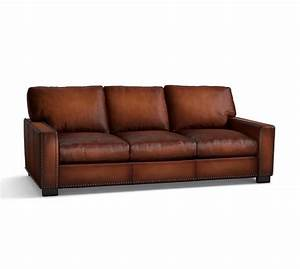 Turner square arm leather sofa with nailheads pottery barn for Pottery barn turner sectional sofa
