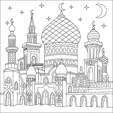castle   thousand   nights oriental adult coloring pages