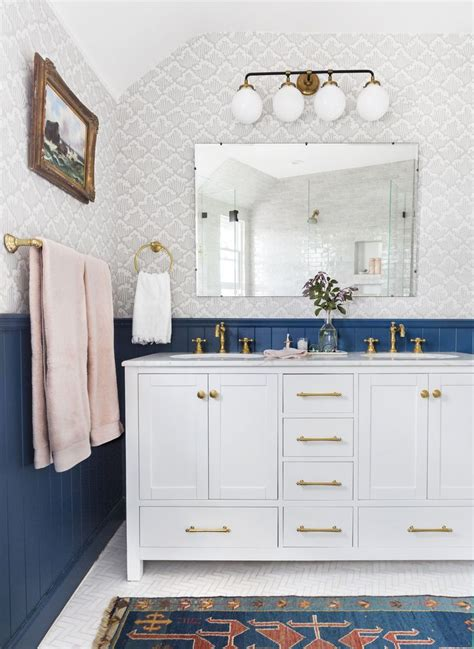 cute bathroom i love the blue and the brass together