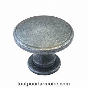 Bouton Armoire Fer Noirci 15