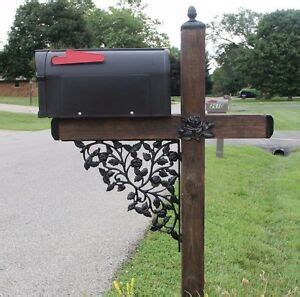 rose pattern wrought iron mailbox post accessory set