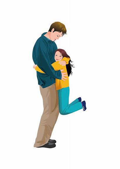 Father Hugging Dad Clipart Son Daughter Transparent