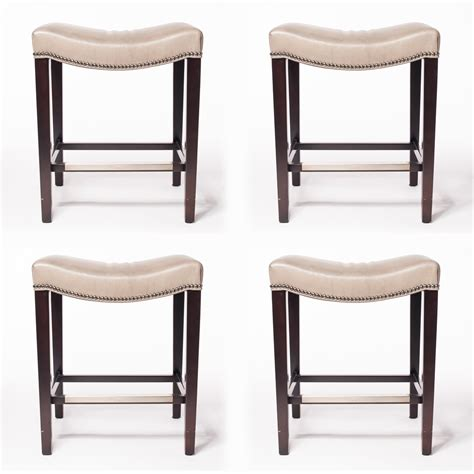 set of four hickory chair madigan backless counter stools