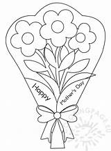 Coloring Bouquet Flowers Pages Mother Mothers Printable Card Getcolorings Coloringpage Eu sketch template