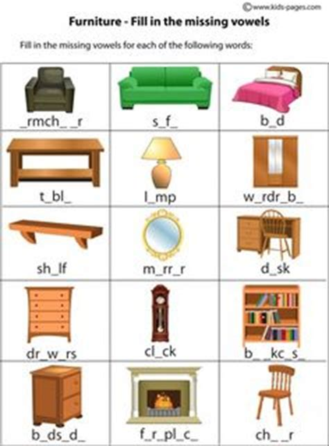 house furniture vocabulary criss cross crossword