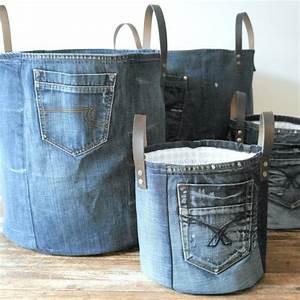 Panier De Rangement Jouet : panier de rangement moyenne fait de vieux panier de jeans panier linge xxl toile de ~ Teatrodelosmanantiales.com Idées de Décoration
