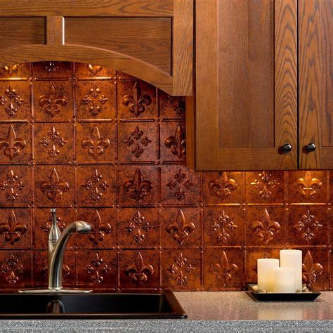 copper kitchen backsplash fasade 24 in x 18 in fleur de lis pvc decorative tile