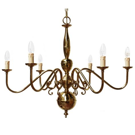 Flemish 6 Arm Brass Light Fitting  Contemporary