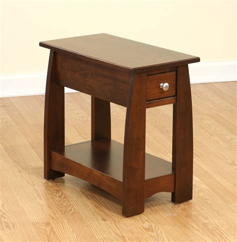 side table with drawer and shelf furniture brown wooden narrow side tables with single