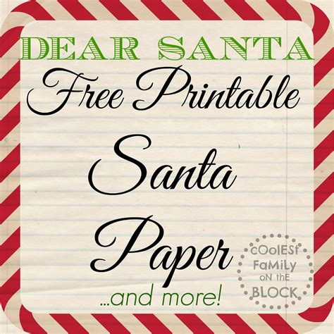 printable santa paper  writing  letter  santa
