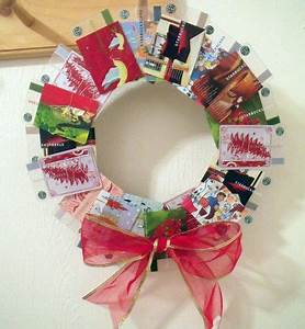 Old Starbucks Card Christmas Wreath is is adorable