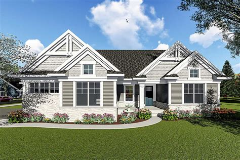 Two Bedroom Craftsman Ranch House Plan