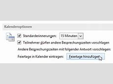 Feiertage in Outlook 2013 anzeigen lassen