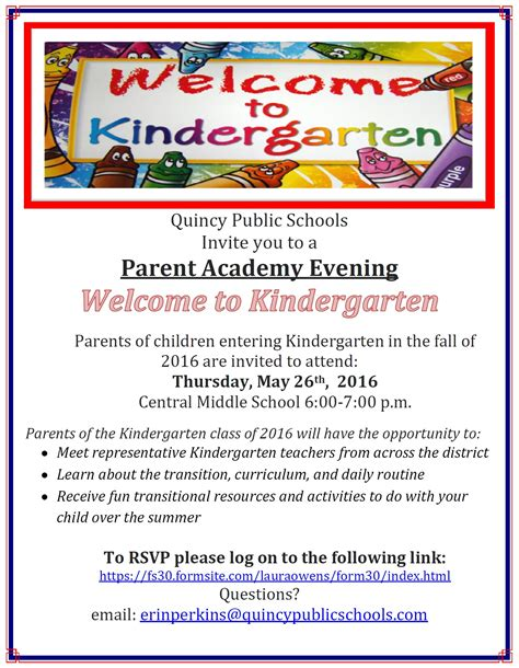 parent academy kindergarten thursday quincy
