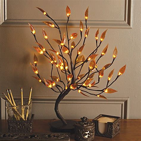 brown wrapped amber leaf led lighted tree bed