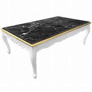 Table Marbre Noir : grande table basse de style baroque bois laqu blanc et marbre noir ~ Teatrodelosmanantiales.com Idées de Décoration
