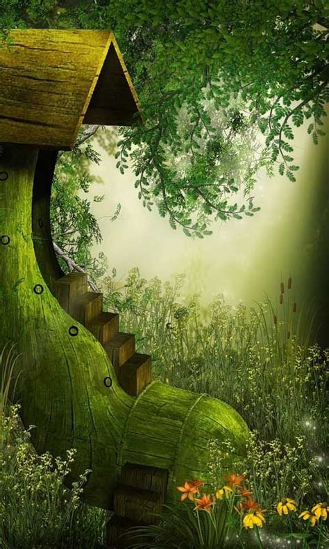fantasy world  house android wallpapers htc