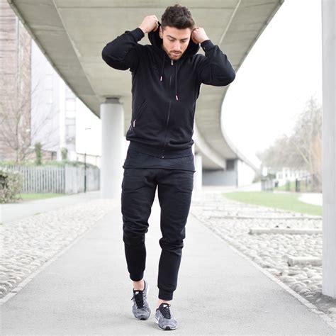 fitted hoodie mens black bottoms vascular wear