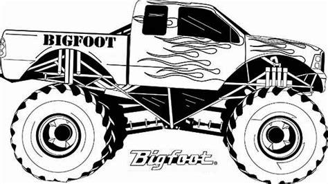 monster truck monster truck bigfoot flames coloring page monster truck coloring pages