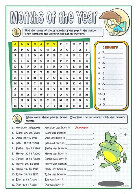 THE MONTHS OF THE YEAR - English ESL Worksheets for ...