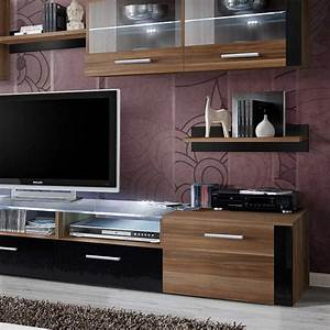 Meuble Tv 250 Cm : meuble tv mural design zoom 250cm brun noir ~ Teatrodelosmanantiales.com Idées de Décoration