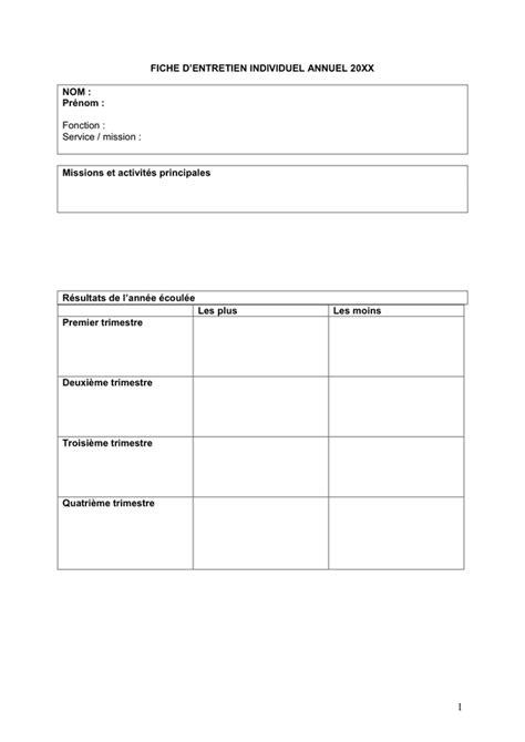 fiche d entretien individuel modèle fiche d entretien individuel annuel doc pdf page 1 sur 3
