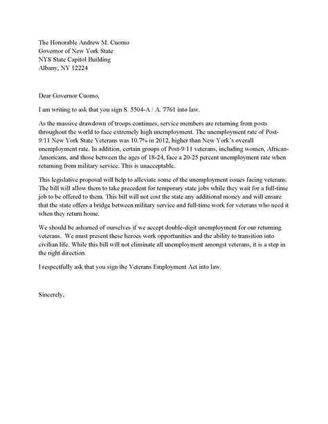 fresh letter  governor   format  cover letter