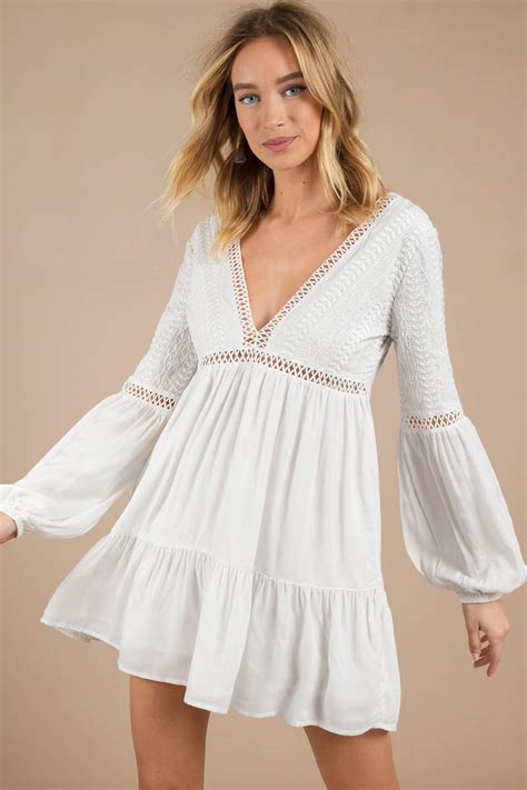Dress Stelan Live white shift dress swing dress white balloon sleeve