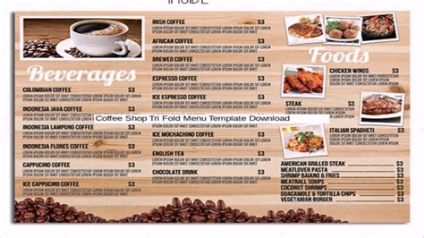 Free Take Out Menu Templates by Restaurant Cafe Take Out Menu Template Free