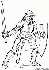 Template Coloring Spear Knights Soldiers Printable sketch template