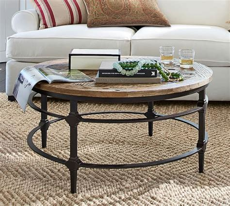 Winston 48 reclaimed wood coffee table. Parquet Reclaimed Wood Round Coffee Table   Pottery Barn