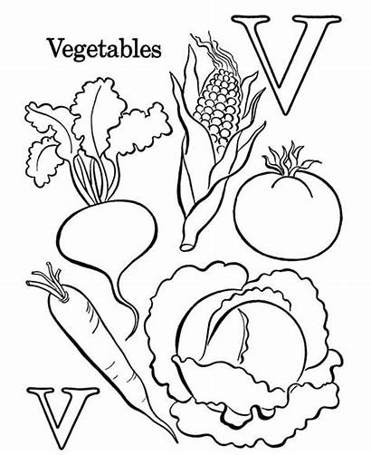 Vegetables Coloring Vegetable Pages Letter Fruits Learn